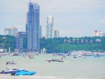 PATTAYA TAJLANDIA, SIERPIEŃ, - 20, 2017: Miasta Pattaya krajobraz Zdjęcie Stock