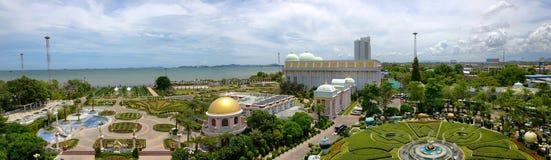 Pattaya, Tajlandia Złota Domowa panorama Zdjęcie Royalty Free