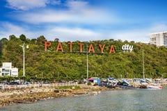 Pattaya tecken, Pattaya stad, Thailand Royaltyfri Fotografi