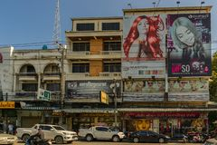 PATTAYA,THAILAND - APRIL 24,2018: Central Pattaya Road Inside this building are a beauty salon. PATTAYA,THAILAND - APRIL 24,2018: Central Pattaya Road Inside stock photo