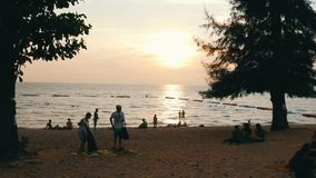 PATTAYA, THAILAND, December 14, 2017: beautiful view of the South China Sea, in which people bathe and rest. Sunset on. PATTAYA, THAILAND, December 14, 2017: A stock video footage