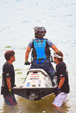 PATTAYA, THAILAND-DECEMBER 9: Competitors at Jet Ski King's Cup World Cup Grand Prix 2012 Royalty Free Stock Photo