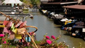 Pattaya Floating Market. Tourist Wooden Boat moving along the Water. Thailand, Asia. PATTAYA, THAILAND, DECEMBER 16, 2017: Pattaya Floating Market. Small Tourist stock video footage