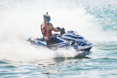 Jet Ski World Cup 2017 in Thailand. Pattaya, Thailand - December 9, 2017: Pancho Marjak from Finland celebrating victory in the Pro-Am Runabout Stock Class of Royalty Free Stock Photos