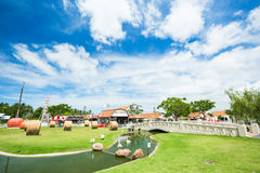 PATTAYA, THAILAND - DECEMBER 16, 2016 : The Swiss Sheep Farm Where is the biggest sheep farm and fun park style in Pattaya stock photo