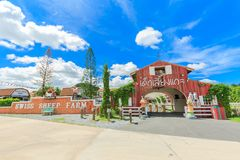 The Swiss Sheep Farm Where is the biggest sheep farm and fun park style in Pattaya stock image