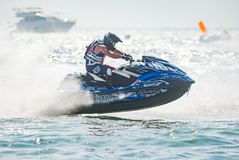 Jet Ski World Cup 2017 in Thailand. Pattaya, Thailand - December 9, 2017: Troy Snyder from USA competing in the Pro-Am Runabout Stock Class of the International Royalty Free Stock Photo