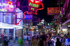 PATTAYA, THAILAND - FEBRUARY 2014: Nightlife with prostitution Royalty Free Stock Images