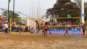 Women`s Beach Volleyball Championship in Thailand. PATTAYA, THAILAND, FEBRUARY 4, 2018: Women`s Beach Volleyball Championship in Thailand. Asian girls play stock video footage