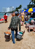 Pattaya, Thailand: Food Vendor on Beach Royalty Free Stock Images