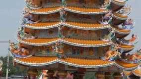 PATTAYA THAILAND - JANUARI 17, 2018: Kinesisk tempel Ang Force i Pattaya Härlig original- tempel i kinesisk stil stock video