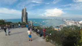 Panoramic view from the Viewpoint to Pattaya city beach at Pratumnak. Time Lapse. Thailand, Pattaya stock footage
