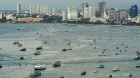 Top view of floating many ships and boats in the sea. Time Lapse. Thailand. Pattaya. PATTAYA, THAILAND, JANUARY 7, 2017: Top view of floating many ships and stock video footage