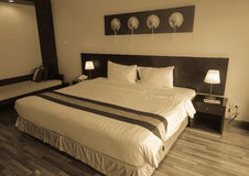 Interior of a bed room at modern hotel Royalty Free Stock Photos