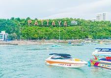 PATTAYA Thailand - Maj 10 2017: Den berömda nollan för Pattaya stadstecken Royaltyfria Foton