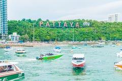 PATTAYA Thailand - Maj 10 2017: Den berömda nollan för Pattaya stadstecken Arkivfoto