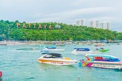 PATTAYA Thailand - Maj 10 2017: Den berömda nollan för Pattaya stadstecken Fotografering för Bildbyråer