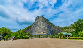 Pattaya, Thailand - May 2019 : Buddha Mountain Khao Chee chan. Khao chee chan the largest buddha carved in the world on sky stock photo