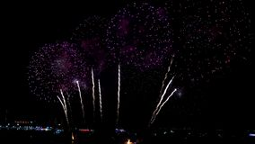 Pattaya Thailand-May, 24 2019 International fireworks show festival 2019.  stock video
