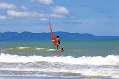 PATTAYA THAILAND -MAY 26, 2013: Man playing windsurfing in the s Royalty Free Stock Photography