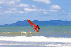 PATTAYA THAILAND -MAY 26, 2013: Man playing windsurfing in the s Royalty Free Stock Image