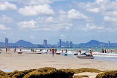 PATTAYA THAILAND -MAY 26, 2013: Many people many activities on t Royalty Free Stock Photo