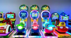 PATTAYA, THAILAND - NOVEMBER 21: Children`s arcade rides fully p stock photos