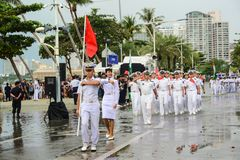 China Navy parade marching in International Fleet Review 2017
