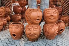 PATTAYA, THAILAND - November 10: The strange pots sculpture look like human face in Nong Nooch tropical garden on November 10, 201 Stock Image