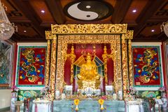 PATTAYA, THAILAND - NOVEMBER 27, 2018: The Viharnra Sien Temple indoor and golden statue of Buddha for praying. The Anek. PATTAYA, THAILAND - NOVEMBER 27, 2018 royalty free stock photo