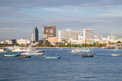Pattaya, Thailand - 08 22 2015: Panorama of Pattaya, Thailand with bay and boats at  sunset Royalty Free Stock Photography