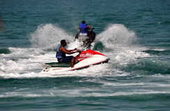 Pattaya, Thailand: People on Jet Ski Boats Stock Images