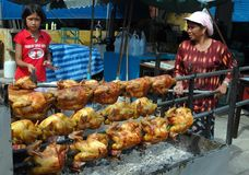 Pattaya, Thailand: Roasting Chickens Royalty Free Stock Photography