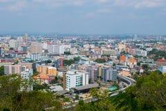 pattaya thailand Sikt från överkanten av byggnadscityscapen och skyskrapa i dag Royaltyfri Fotografi