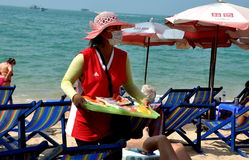 Pattaya, Thailand: Vendor Selling Food on Beach Stock Images
