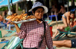 Pattaya, Thailand: Vendor Selling Seafood Stock Photography