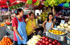 Pattaya, Thailand: Women Selling Fruit at Market Royalty Free Stock Photos