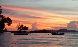 Pattaya Thailand, Wongamat strand på solnedgång Fotografering för Bildbyråer