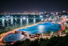 Pattaya, Thiland. January 14, 2018, A view of new fountain landmark at Bali Hai Pier, Pattaya. in front of Water Front Hotel is on instruction royalty free stock photography