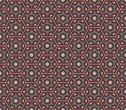 Patte för gröna färger för mellersta östlig stil rödbrun sexhörnig sömlös Vektor Illustrationer