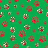 Patte rouge de chien sans couture sur le backgrond vert illustration stock