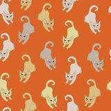 Patten with jumping cats. Royalty Free Stock Images