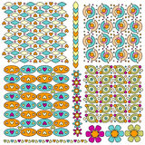 Patten and trim set with flowers and hearts Stock Photo