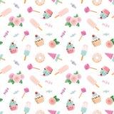 Pattent de fête avec des fleurs et des bonbons dans le rose en pastel et le bleu Pour épouser, anniversaire, conception de fête d illustration stock