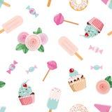 Pattent sans couture de fête avec des fleurs et des bonbons dans le rose en pastel et le bleu Pour épouser, anniversaire, concept illustration libre de droits