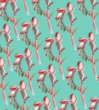 Patter with flowers. Pattern with beautiful pink flowers on a blue background Stock Image