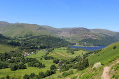 Patterdale, Glenridding and Ullswater, Cumbria. View north west from the footpath from Glenridding to Boardale Hause looking towards Patterdale, Glenridding and Stock Images