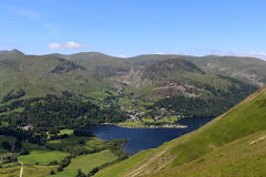 Patterdale, Glenridding and Ullswater, Cumbria. View north west from the slopes of Place Fell looking towards Patterdale, Glenridding and Ullswater in the Stock Photography