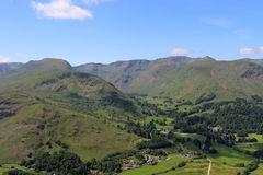 Patterdale, Grisedale, St Sunday Crag, Helvellyn. Looking south west from Place Fell in the English Lake District, Cumbria to Patterdale village, Grisedale Stock Photography