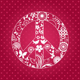 Patterened peace sign. With funky elements and background pattern Royalty Free Stock Photos